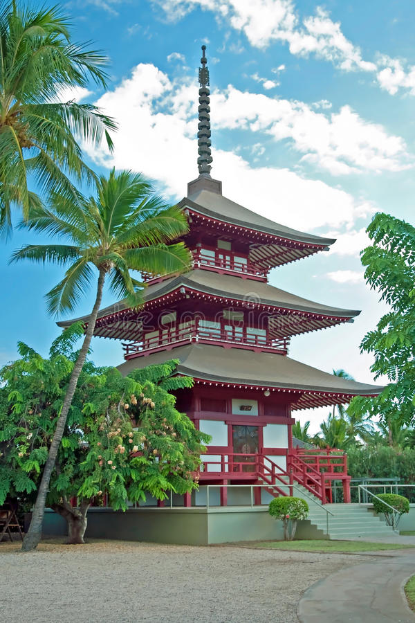 Lahaina在毛伊岛夏威夷的jodo使命 免版税库存图片