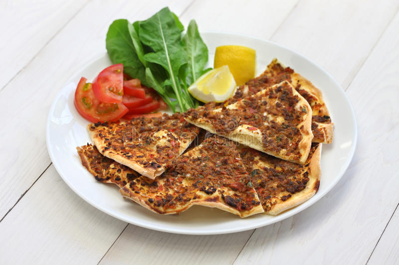 Lahmacun, turkish minced meat pizza royalty free stock photography