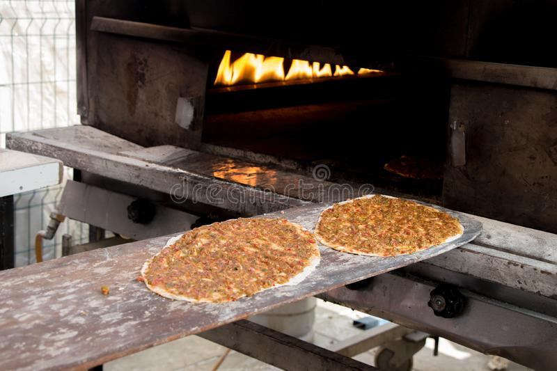 Lahmacun, Turkish pizza pancake with  meat filling stock photo