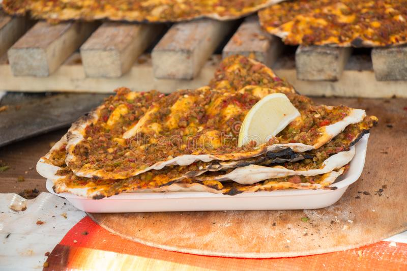 Lahmacun, Turkish pizza pancake with meat filling stock images