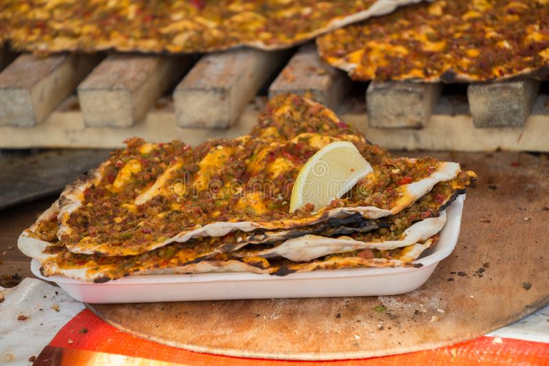 Lahmacun, Turkish pizza pancake with meat filling stock photography