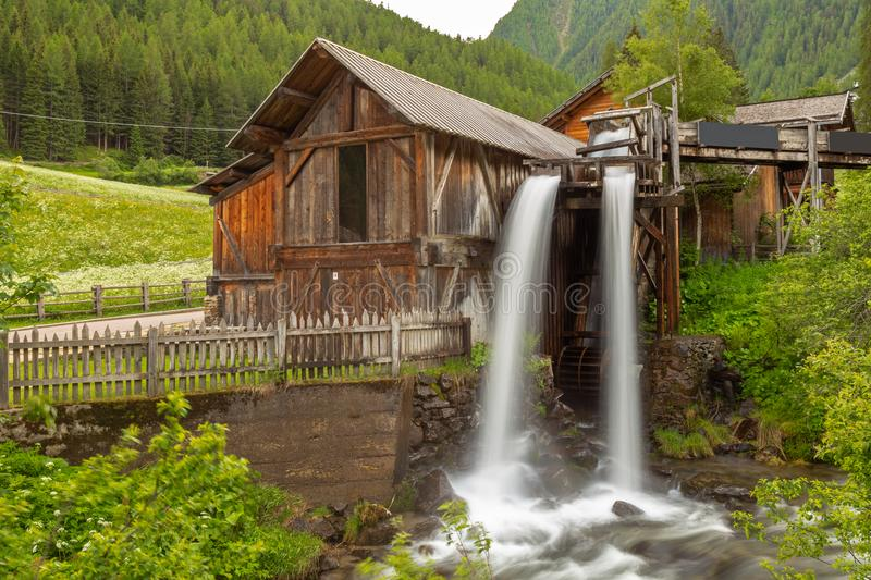 Lahner Saege, a historic sawmill, Ulten Valley, South Tyrol, royalty free stock photo