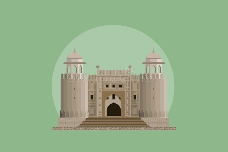 Lahore Fort - Historical Landmark of Lahore. Lahore Fort Historical Landmark of Pakistan situated in rural area of historical city of Lahore royalty free illustration