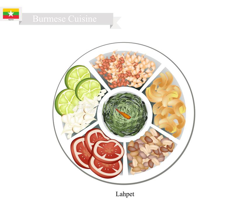 Lahpet o insalata della foglia di tè marinata birmano illustrazione vettoriale
