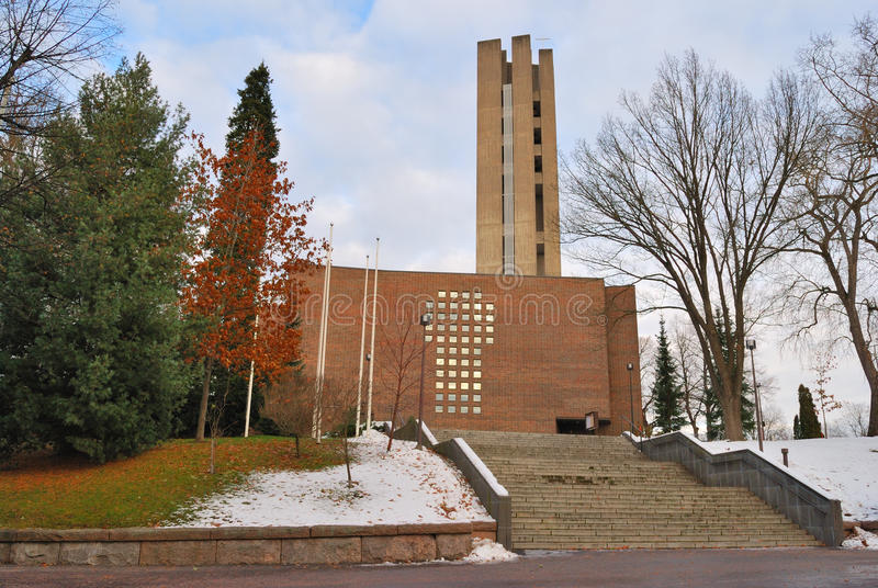Lahti, Finland. Kerk van het Heilige Kruis stock fotografie