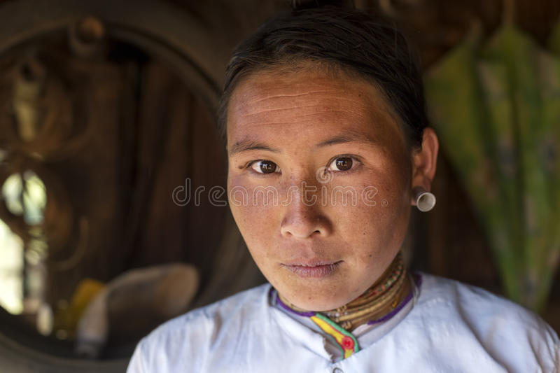 Lahu Shi Tribe, Myanmar. Kengtung, Myanmar - January 21, 2016. A portrait of a woman from the Lahu Shi tribe. They are a self sufficient Buddhist tribe who live stock photos