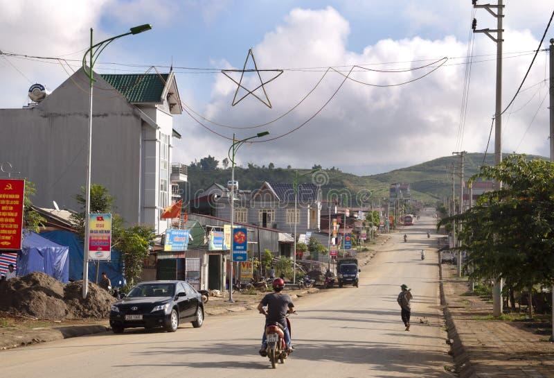 Lai Chau, Straßenansicht lizenzfreies stockbild
