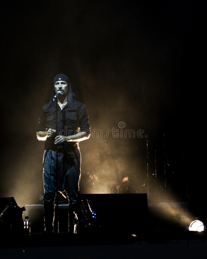 LAIBACH - rock singer. BELGRADE, SERBIA - AUGUST 12 : Industrial rock music band LAIBACH performs onstage at Belgrade BeerFest 2009 at Usce August 12, 2009 in stock image