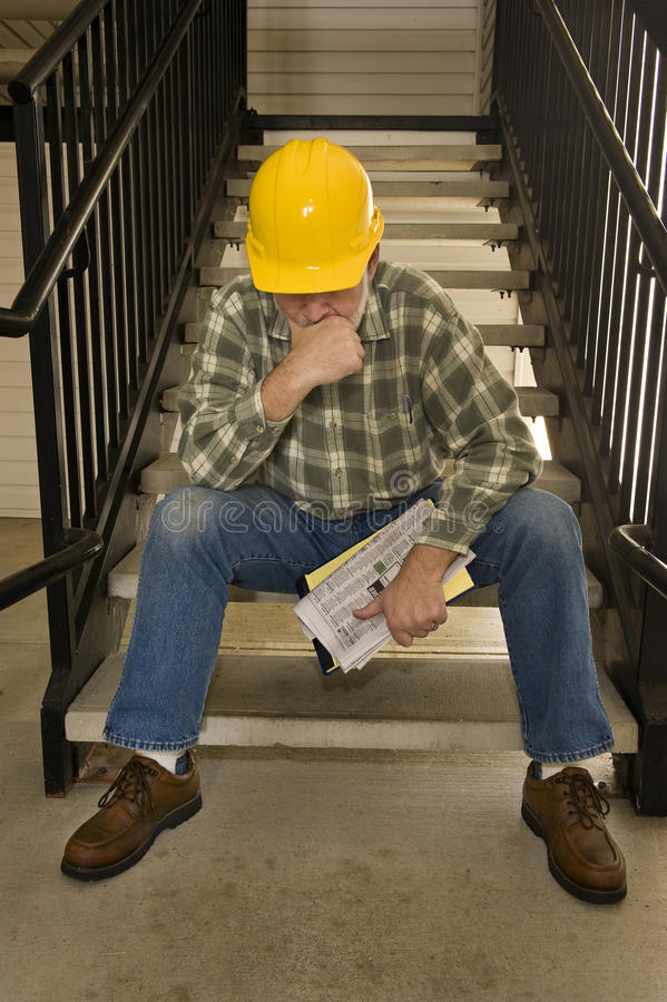 Laid Off Construction Worker royalty free stock photo