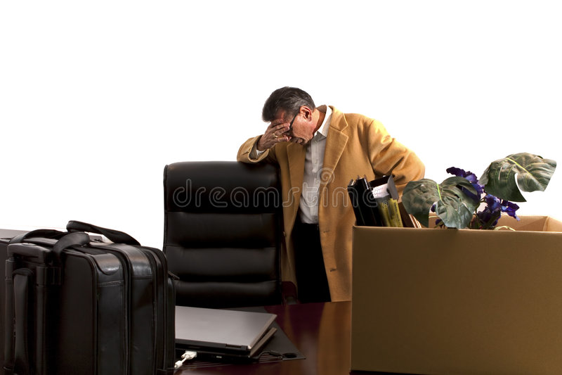 Laid-off-standing head down stock photography