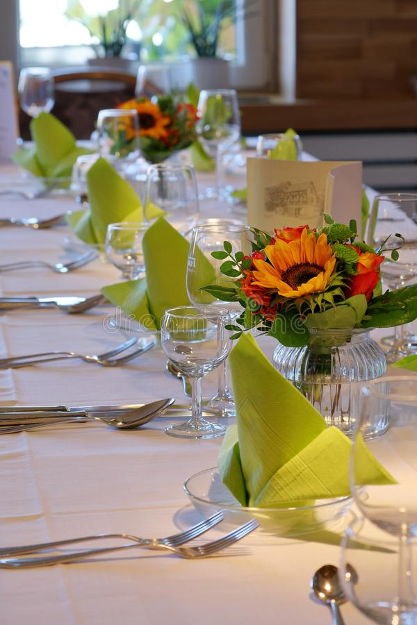 Laid table for a festive occasion royalty free stock image