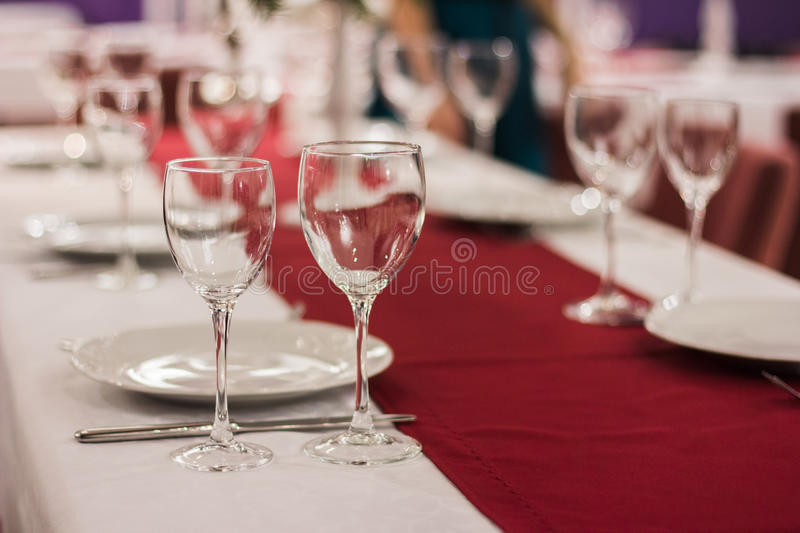 Laid table in restaurant stock photos