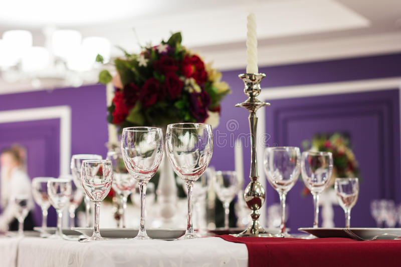 Laid table in restaurant stock images