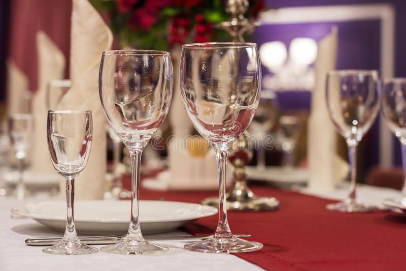 Laid table in restaurant royalty free stock images