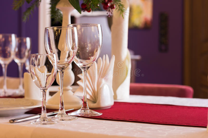 Laid table in restaurant royalty free stock photos