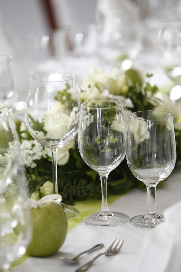 Laid wedding table. With flowers stock photos