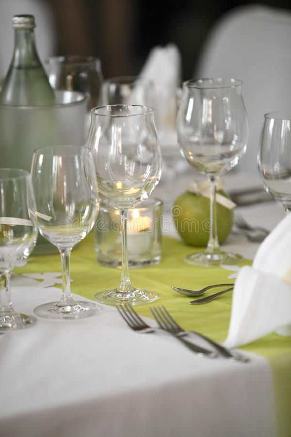 Laid wedding table. With flowers stock images