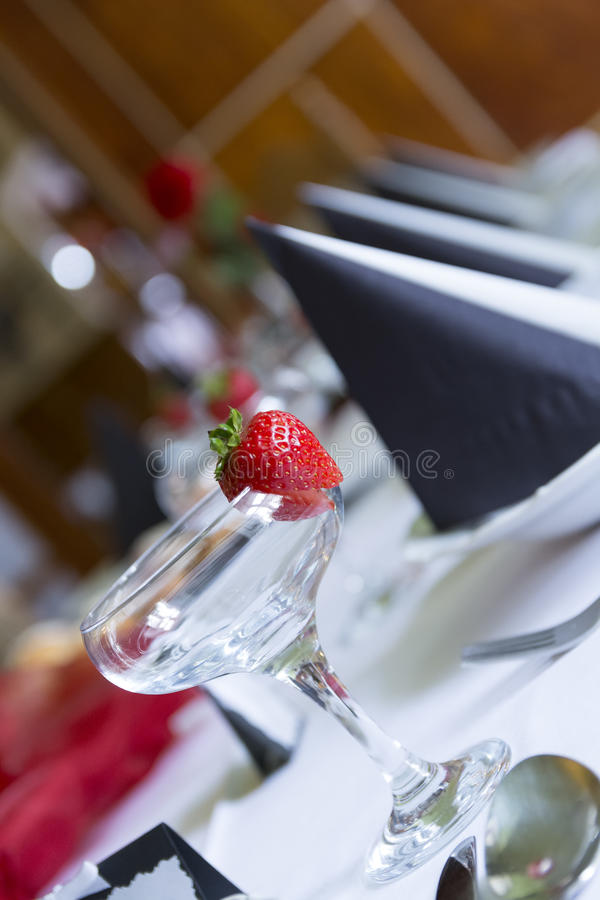 Laid wedding table at a reception royalty free stock photography