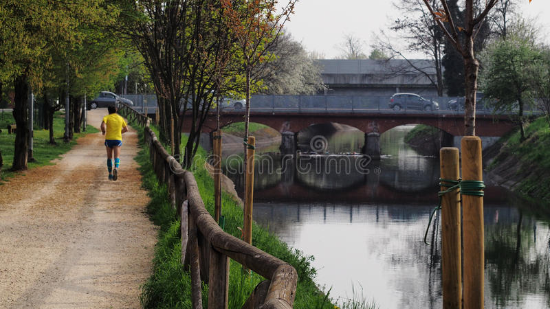 Lainate canal at springtime. stock photo