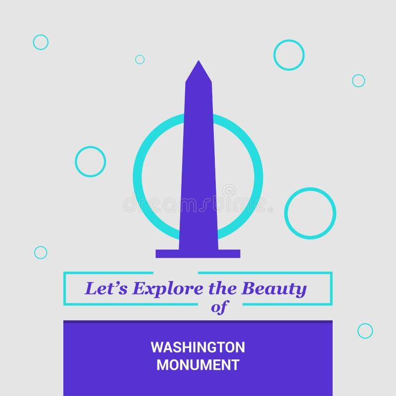 """Laissé \ """"s explorer la beauté de Washington Monument, La nationale des Etats-Unis illustration de vecteur"""