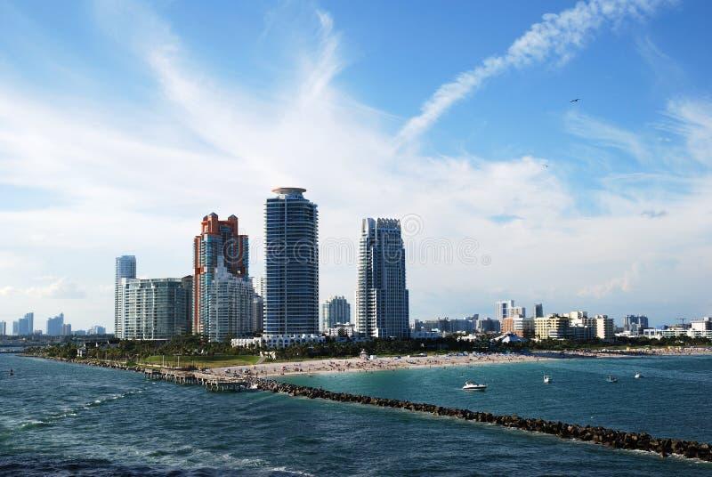 Laissant à Miami la plage du sud image libre de droits