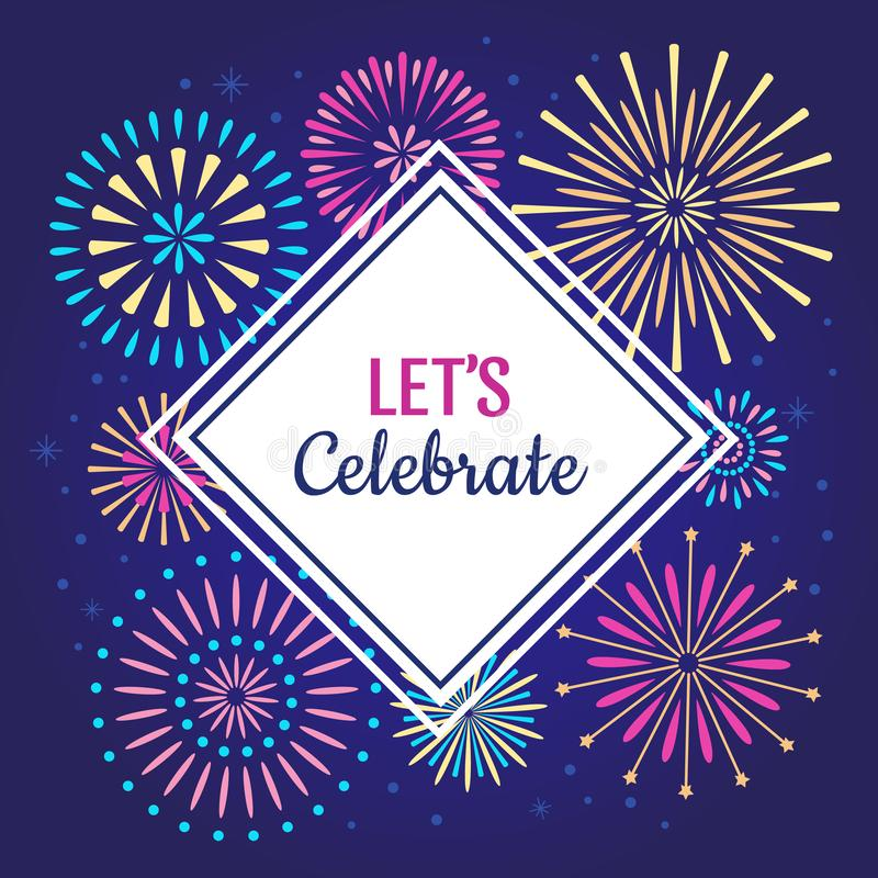 Laisse célébrer l'affiche Les feux d'artifice de célébration de vacances d'hiver, feu d'artifice de fête d'anniversaire ou célèbr illustration stock