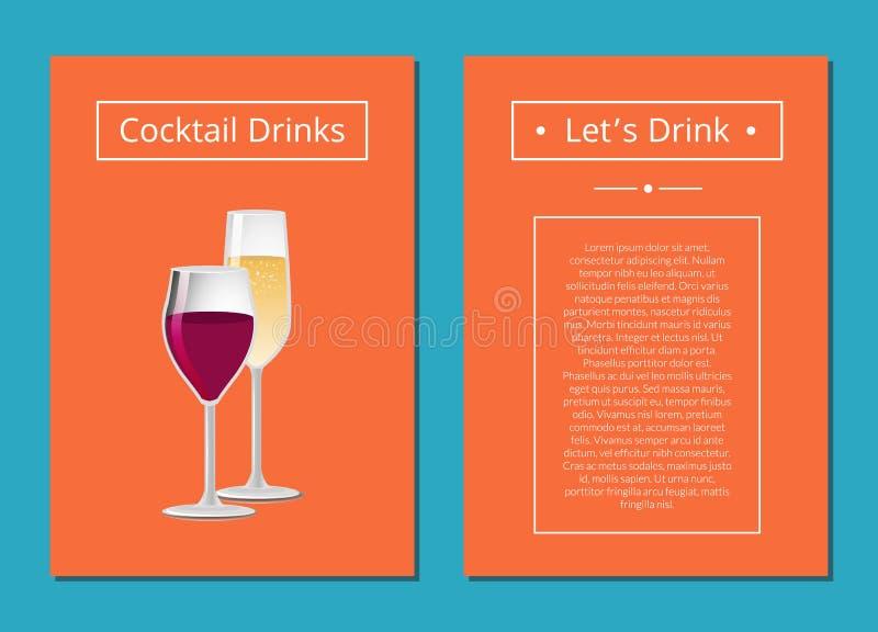 Laisse des cocktails de boissons avec le verre de vin Champagne illustration libre de droits