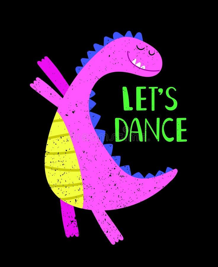 Laisse l'affiche de Dino de rose de danse illustration stock
