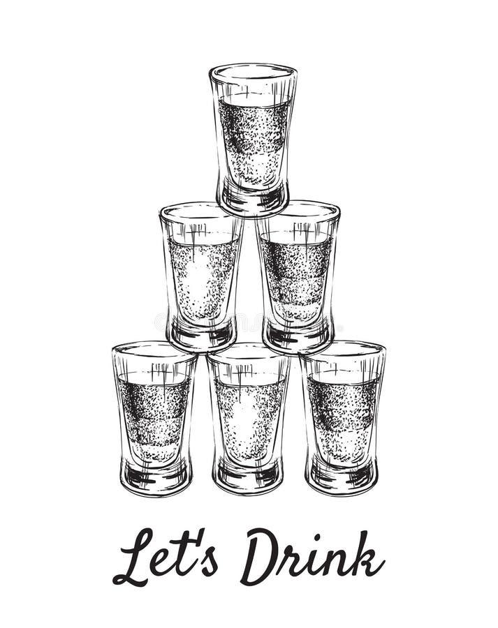 Laisse la boisson Boissons alcoolisées dans des verres à liqueur Illustration tirée par la main de vecteur de boissons illustration libre de droits