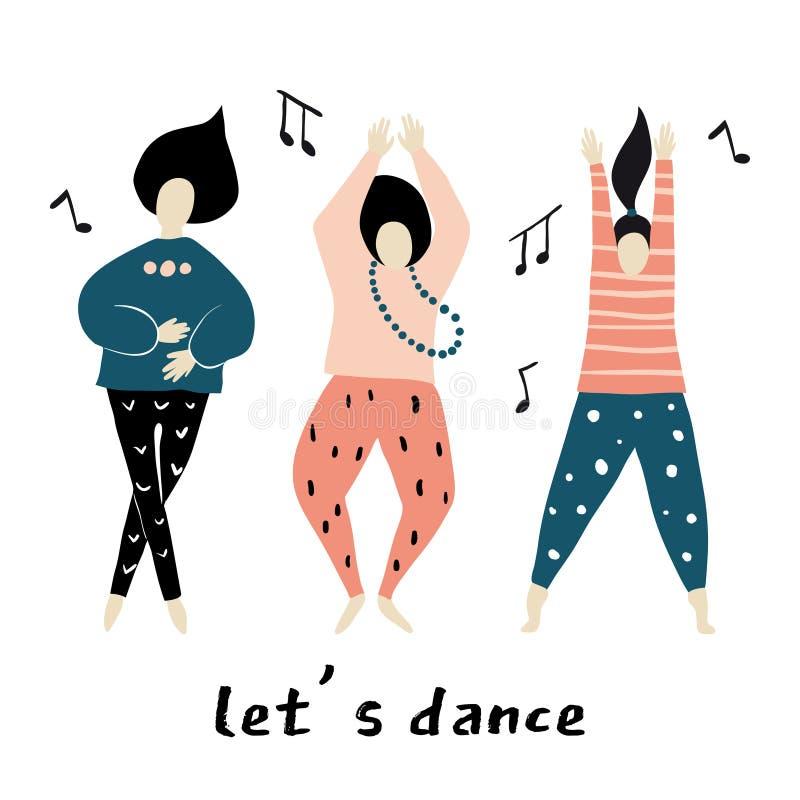 Laisse la danse Les filles de danse dirigent illustration libre de droits