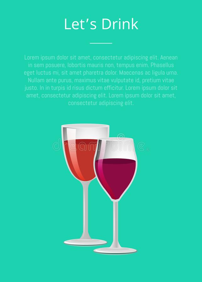 Laisse le verre de boissons de verres à vin de l'affiche deux de vin illustration libre de droits