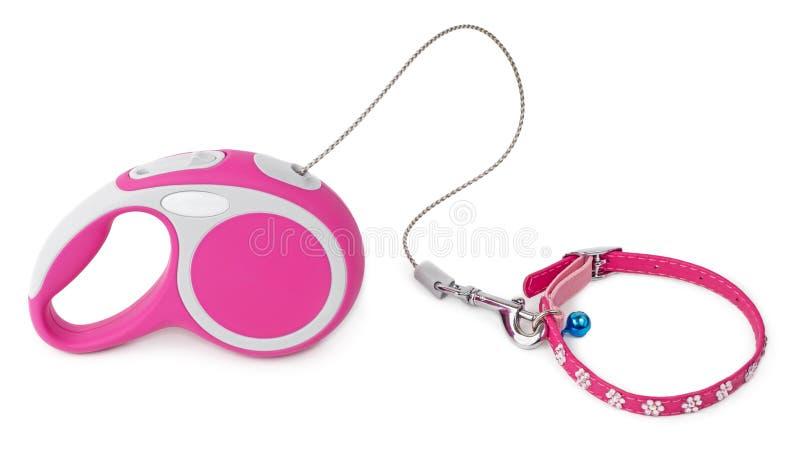 Laisse rose pour le chien avec le collier photos stock
