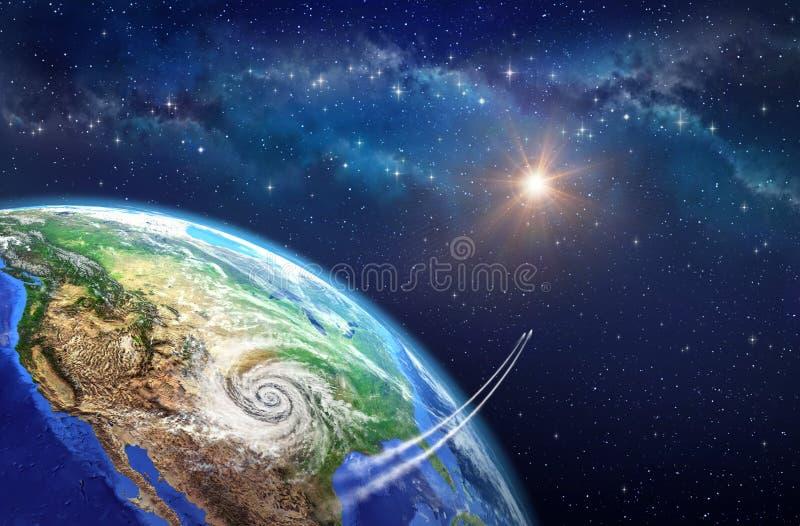 Laisser la terre illustration de vecteur