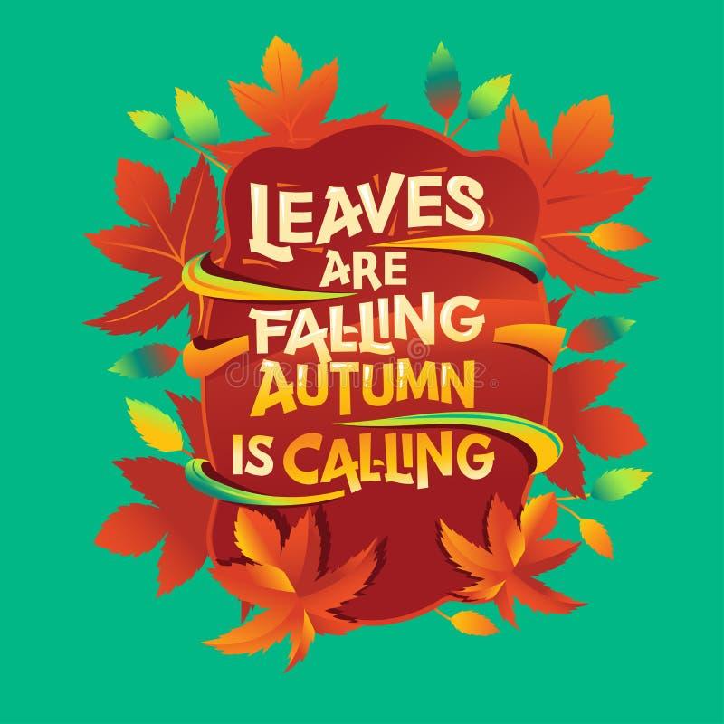 Laisser tomber l'automne c'est appeler la phrase. Carte de voeux d'automne avec devis photo libre de droits