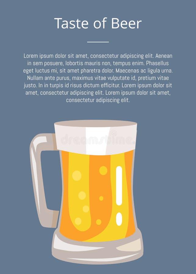 Laissez l'affiche de bière de boissons de s avec le texte et la tasse de la boisson illustration stock