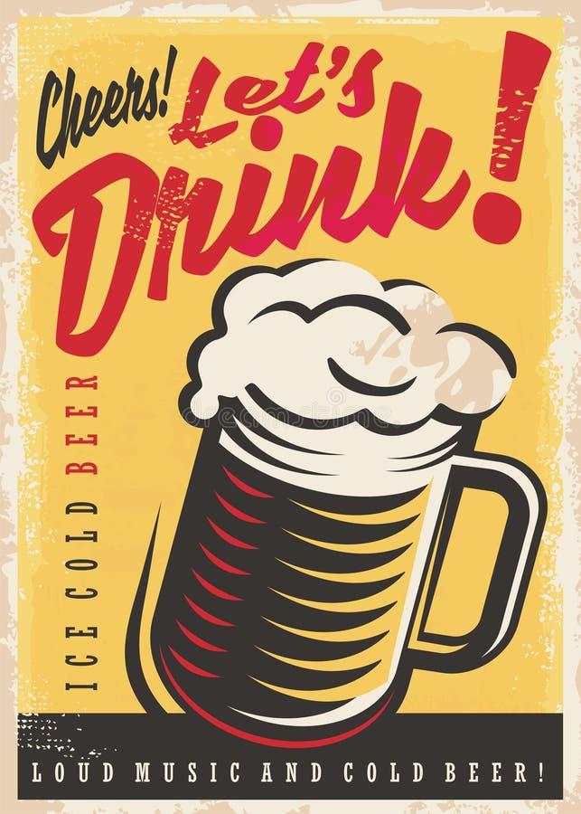Laissez la bière glacée de boissons du ` s illustration de vecteur