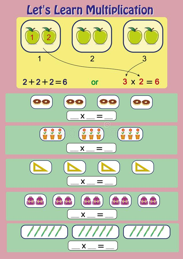 Laissez le ` s apprendre la multiplication, l'activité mathématique, fiche de travail de multiplication pour des étudiants illustration de vecteur