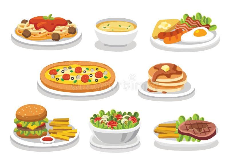 Laissez le ` s manger quelque chose nourriture savoureuse délicieuse illustration de vecteur