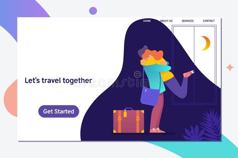 Laissez le voyage de s ensemble Les couples heureux voyagent ensemble Illustration plate de vecteur illustration libre de droits