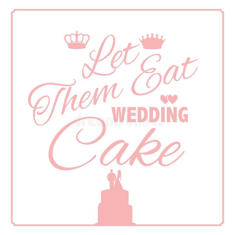 Laissez-les manger la conception de gâteau de mariage illustration de vecteur