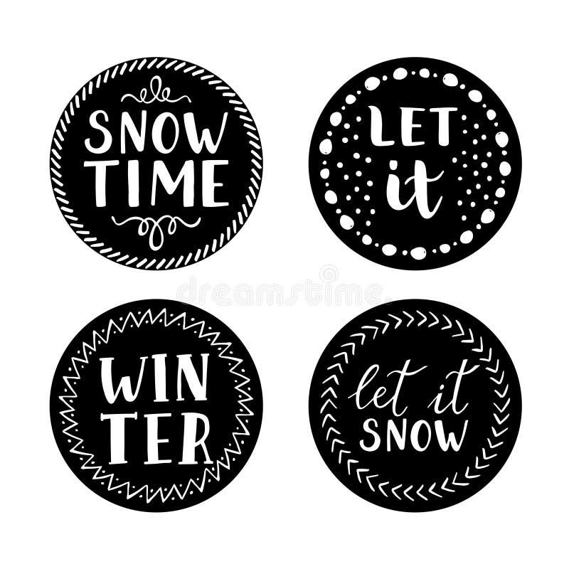 Laissez lui neiger icônes de Noël illustration stock