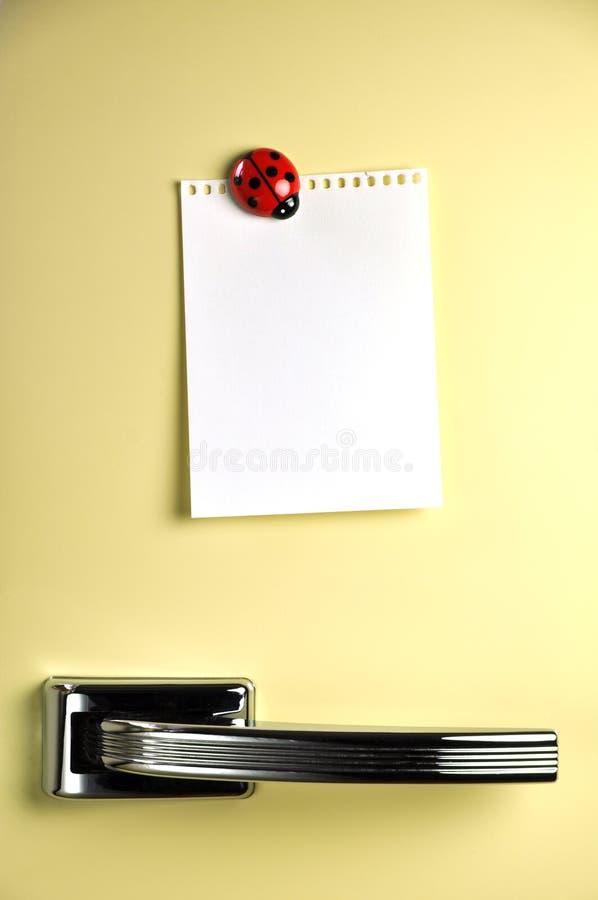 Laissez un message sur le réfrigérateur photos libres de droits