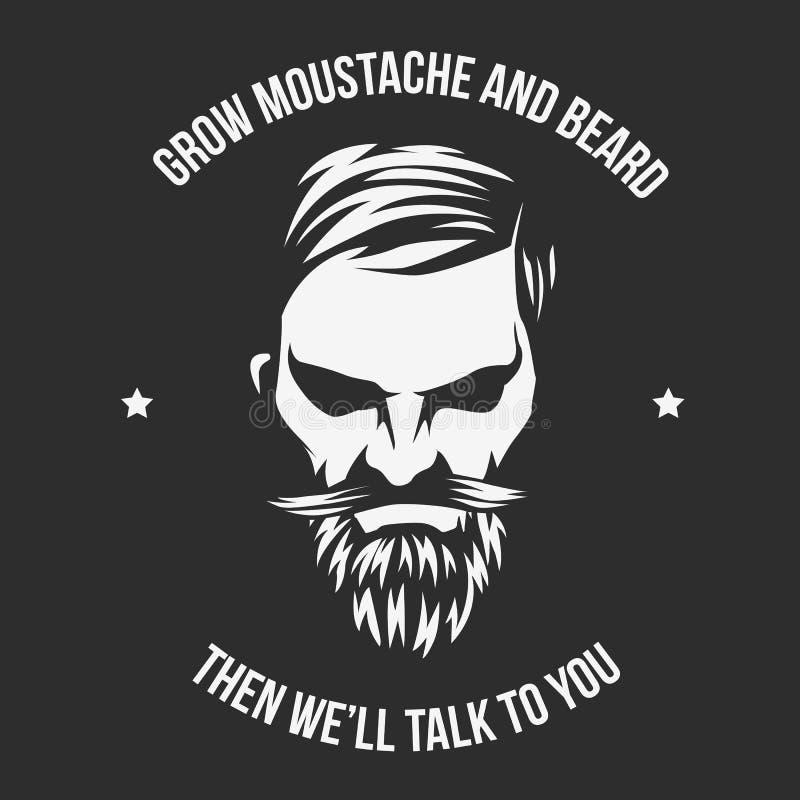 Laissez-vous pousser la moustache et la barbe et soyez un homme illustration de vecteur