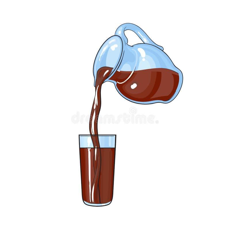 Lait chocolaté, boisson de cacao versant du pot dans le verre grand illustration de vecteur