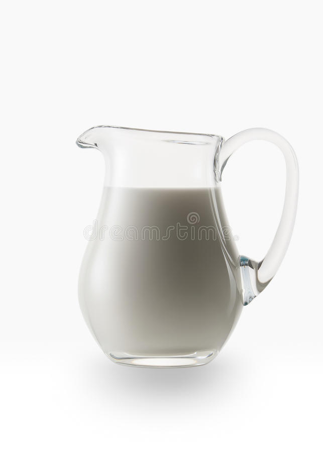 lait Cruche en verre de lait frais sur le fond blanc photo stock
