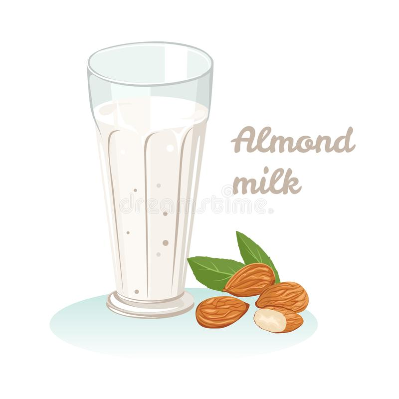 Lait d'amande Illustration courante de vecteur dans le style plat simple de bande dessinée illustration de vecteur