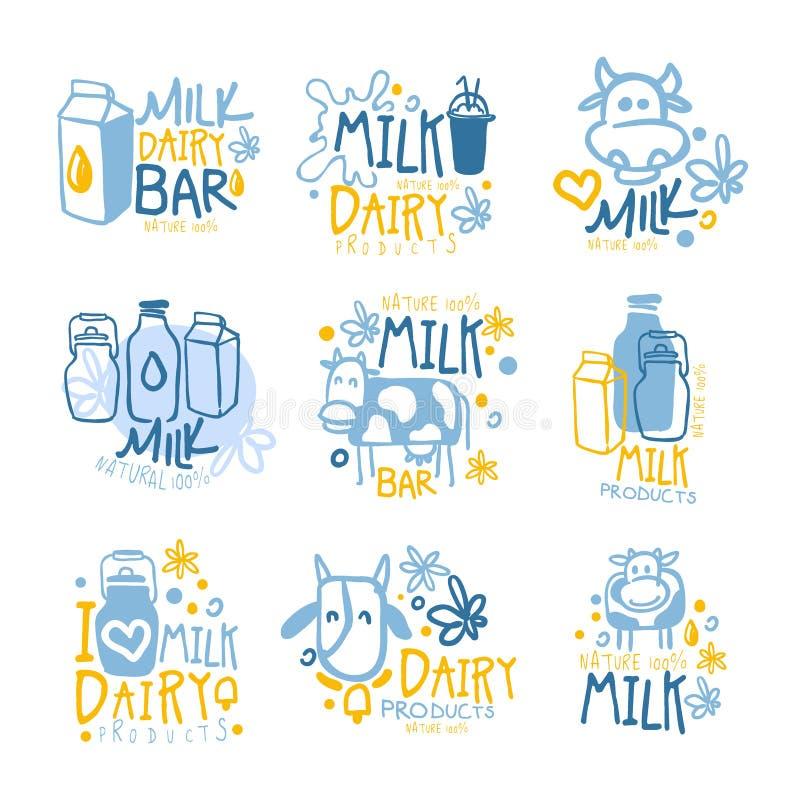 Lait naturel et ensemble de laitages frais de calibres colorés de conception de signe de promo avec des vaches et des paquets de  illustration libre de droits