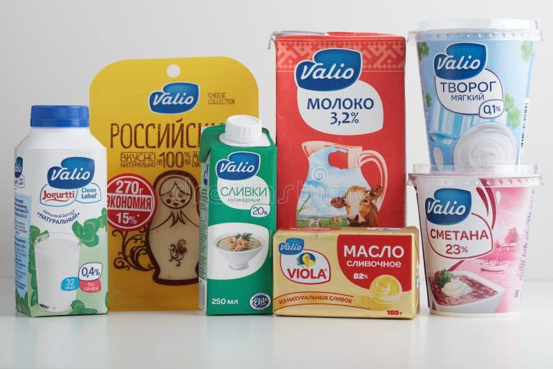 Laitages de la branche russe de la société finlandaise de Valio photographie stock libre de droits