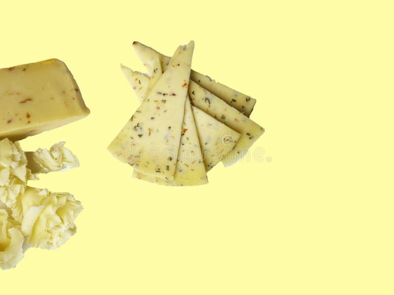 Laitages frais de différents fromages image libre de droits