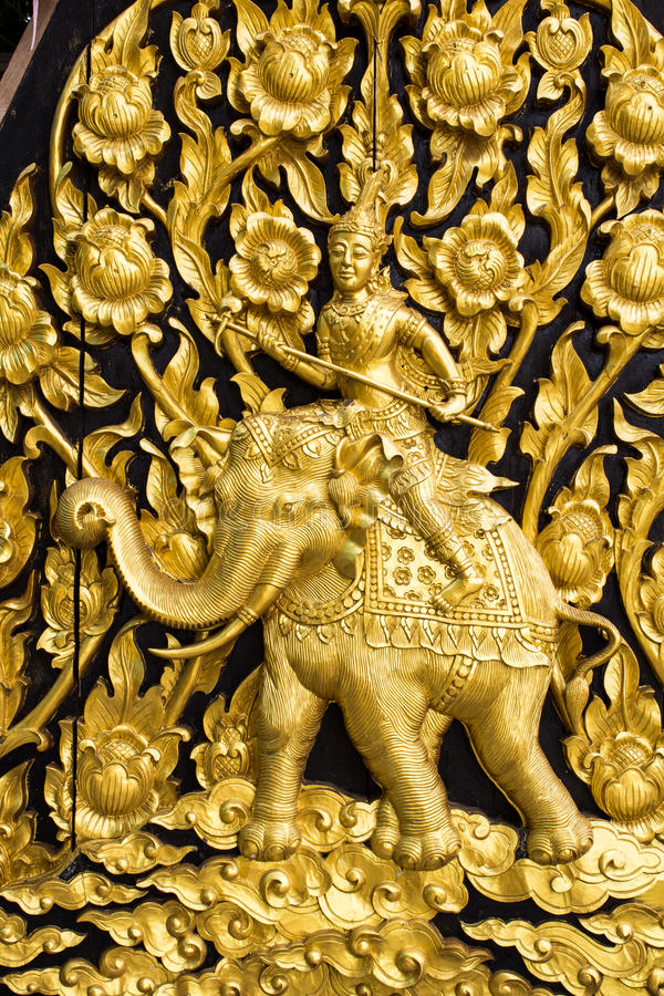 Download Laithai carved on the door stock image. Image of gold - 26059481
